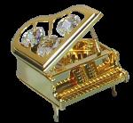 Goldfigur Klavier mit Swarovski Kristallen
