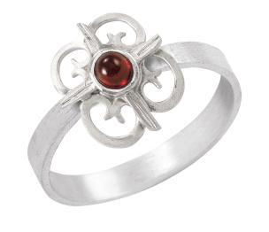 Ring in Silber 925/- mit einem Granatstein