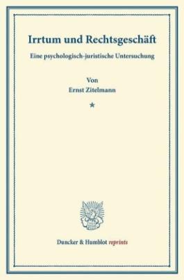 Irrtum und Rechtsgeschäft.