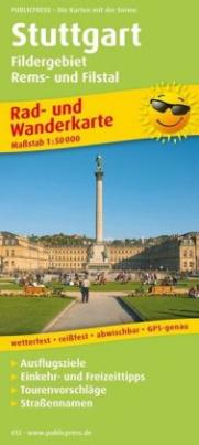 PublicPress Rad- und Wanderkarte Stuttgart, Fildergebiet, Rems- und Filstal