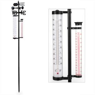 Gartenthermometer mit Wetterfahne und Regenmesser