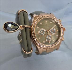 Damen-Armbanduhr  rosé vergoldet im Chrono-Optik grau