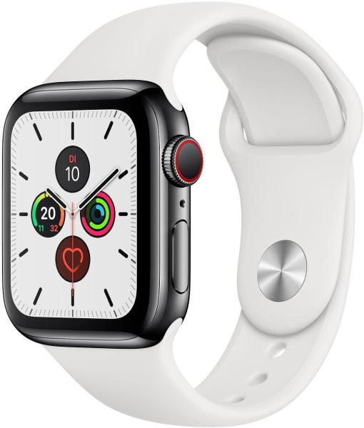 """APPLE Smart Watch """"Watch Series 5"""" (GPS + Cellular, 40 mm, Edelstahlgehäuse, space schwarz/weiß)"""