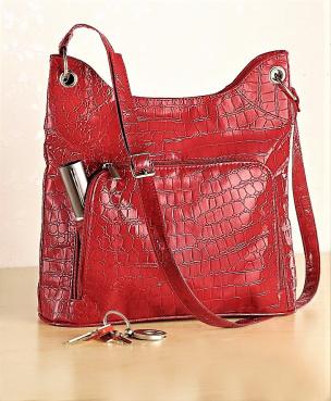 Damentasche im Krokostil rot