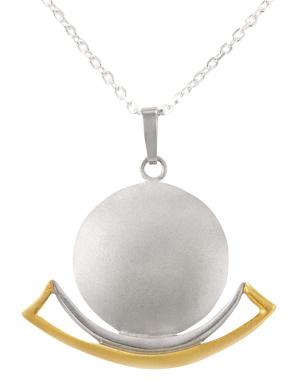 Mondbarkennhänger in Silber Si925/- bicolor mit passender Kette