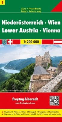 Freytag & Berndt Autokarte Niederösterreich, Wien. Baja Austria, Viena. Neder Oostenrijk, Wenen;  Lower Astria; Basse Autriche; Austria inferiore