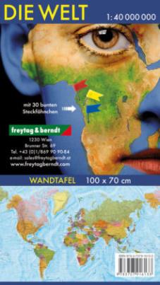 Freytag & Berndt Wandkarte: Die Welt, deutsch, Markiertafel 1:40.000.000