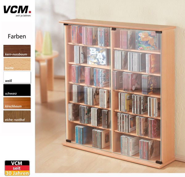 cd schrank roma eiche rustikal f r 300 cds. Black Bedroom Furniture Sets. Home Design Ideas